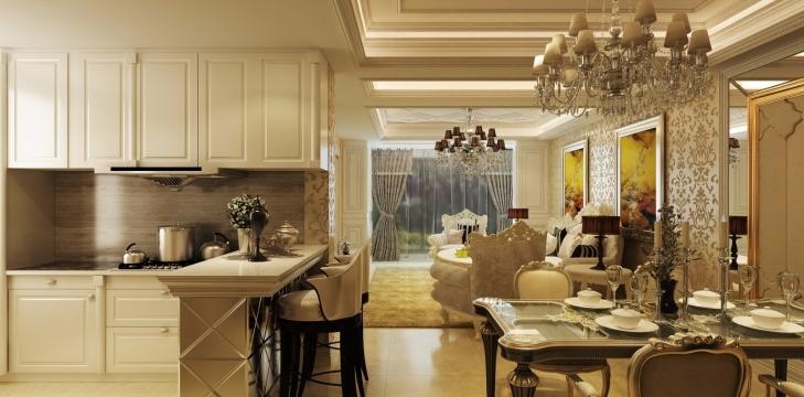 厨房 设计要多一些想象,地中海的风格也能也多一点甜蜜